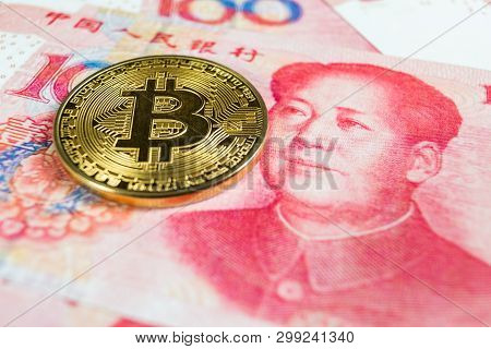 Crypto Currency Concept - A Bitcoin With Chinese Currency Rmb, Renminbi, Yuan