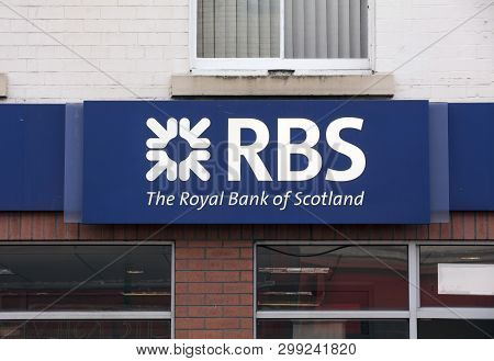 Royal Bank Of Scotland Sign On The High Street - Scunthorpe, Lincolnshire, United Kingdom - 23rd Jan