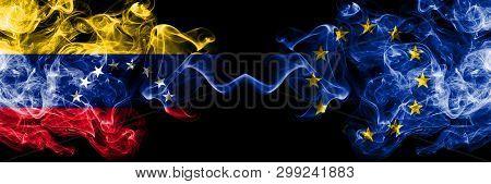 Venezuela Vs European Union, Eu Smoky Mystic Flags Placed Side By Side. Thick Colored Silky Smoke Fl