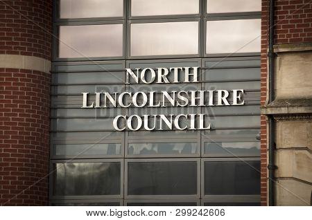 North Lincolnshire Council Building Entrance In Church Square - Scunthorpe, Lincolnshire, United Kin