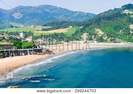 Cantabrian Sea Green Coast With Deba Town At Summer, Pais Vasco Spain