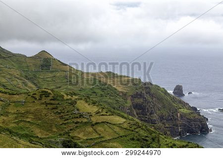 Grazing Plots On The Dramatic Cliffs Near Mosteiro On Flores Island In The Azores.