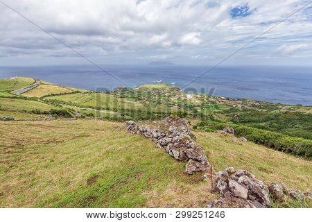 Pastures Dot The Landscape Above Ponta Delgada On The Island Of Flores In The Azores.
