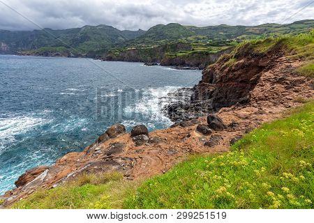 Coastal Cliffs Near Ponta Delgada On The Island Of Flores In The Azores.