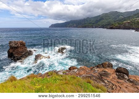 Colorful Coastal Area Below Ponta Delgada On The Island Of Flores In The Azores.