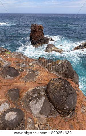 Volcanic Coastline Below Ponta Delgada On The Island Of Flores In The Azores.