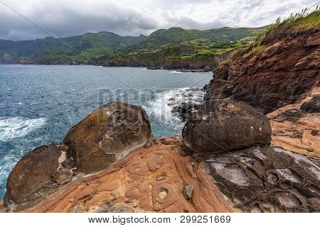 Interesting Rock Formations Below Ponta Delgada On The Island Of Flores In The Azores.