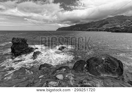 Rugged Volcanic Coastline Near Ponta Delgada On The Island Of Flores In The Azores.