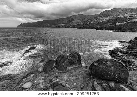 Black And White View Of Ponta Delgada On The Island Of Flores In The Azores.