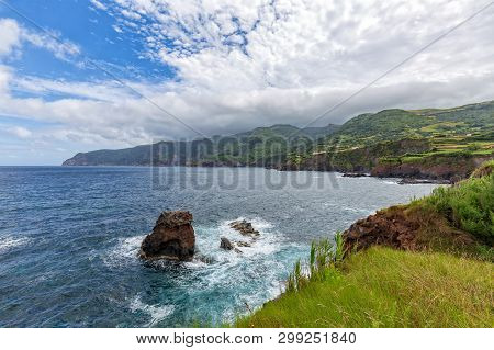 Waves Crash Among The Coastline Below Ponta Delgada On The Island Of Flores In The Azores.