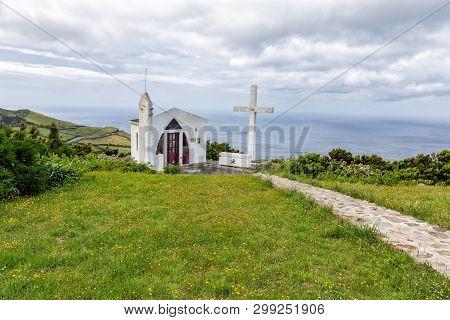 Stone Path Leading To The Small White Ermida De Sao Joao Baptista Chapel Above Ponta Delgada, On The
