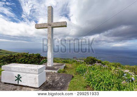 A White Cross And A Coffin At The Ermida De Sao Joao Baptista Chapel Above Ponta Delgada, On The Isl