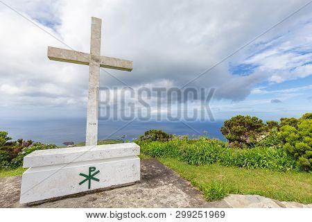 A Beautiful White Cross At The Ermida De Sao Joao Baptista Chapel Above Ponta Delgada, On The Island