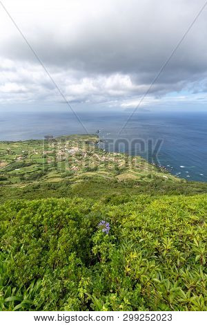 Portrait View Of The Village Of Ponta Delgada On The Island Of Flores In The Azores.