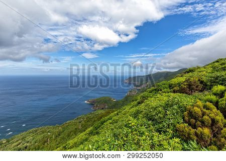 Beautiful Coastline Looking South From Ponta Delgada On The Island Of Flores In The Azores.