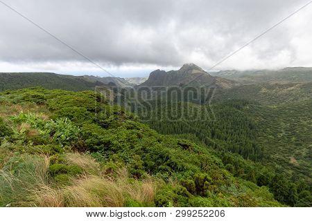 Interesting View From Miradouro Do Vale Da Fazenda In Flores, Azores.