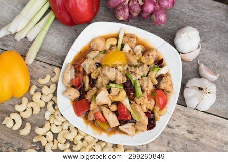 Chicken Fried With Cashew Nuts And Chili