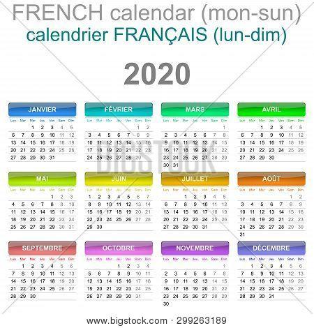 Colorful Monday To Sunday 2020 Calendar French Language Illustration