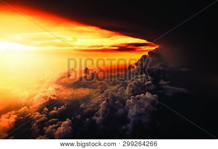 Natural Beauty Of Sunset And View Of Clouds