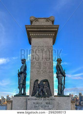 Weehawken, Nj - April 20, 2019: The Weehawken World War I Veterans Memorial In Weehawken, Nj. The U.