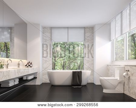 Luxurious Bathroom With Natural Views 3d Render,the Room Has Black Tile Floors, White Marble Walls,
