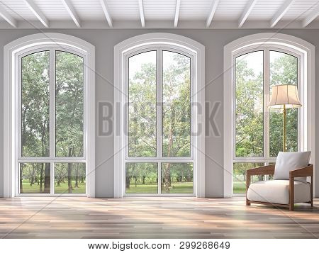 Modern Classic Living Room With Nature View 3d Render.the Rooms Have Wooden Floors And White Wood Ce