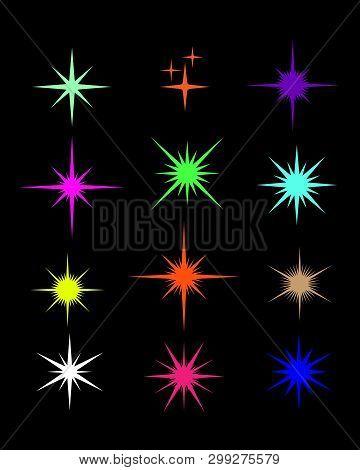 Set Of Sparkle Star, Sparkles Star Isolated Vector. Sparkle Light. Sparkling Stars. Sparkles Color S