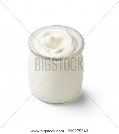 Fresh Natural Homemade Organic Yogurt In A Glass Jar Isolated On White Background