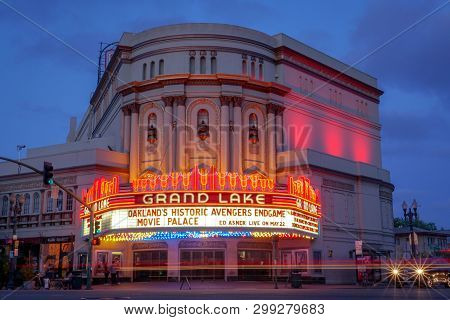 Oakland, California -- May 4, 2019: The Grand Lake Theatre Is A Historic Movie Palace Located At 320