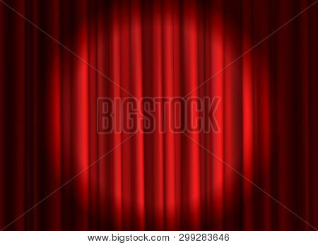 Closed red curtain. Theatrical drapes stage curtains opening ceremony theater movie spotlight closed velvet fabric textile vector background poster
