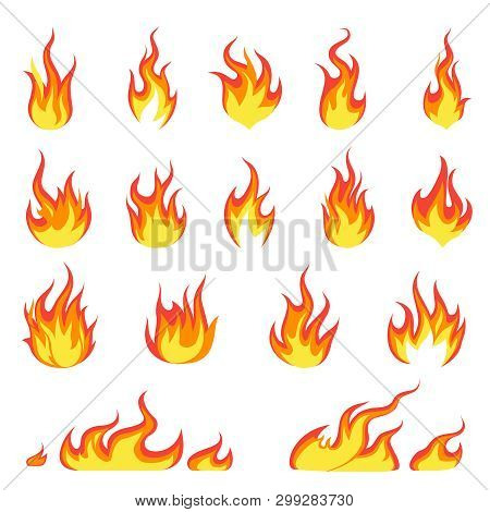 Cartoon Fire Flame. Fires Image, Hot Flaming Ignition, Flammable Blaze Heat Explosion Danger Flames