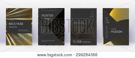 Black Brochure Design Template Set. Gold Abstract Lines On Black Background. Actual Brochure Design.