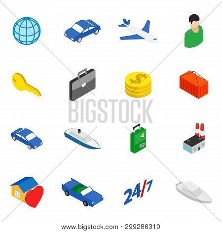 Movement Icons Set. Isometric Set Of 16 Movement Vector Icons For Web Isolated On White Background
