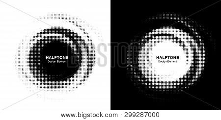 Halftone Circle Dotted Frame Circularly Distributed Set. Abstract Dots Logo Emblem Design Element. R