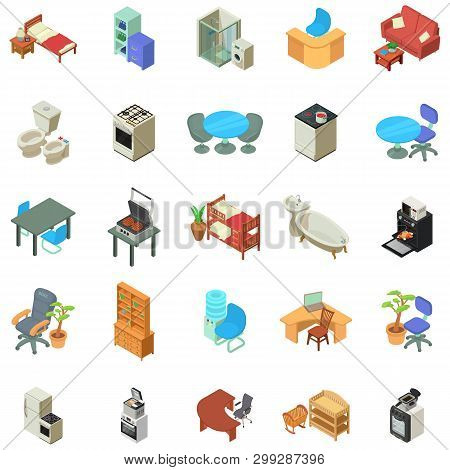 Home Furniture Icons Set. Isometric Set Of 25 Home Furniture Vector Icons For Web Isolated On White