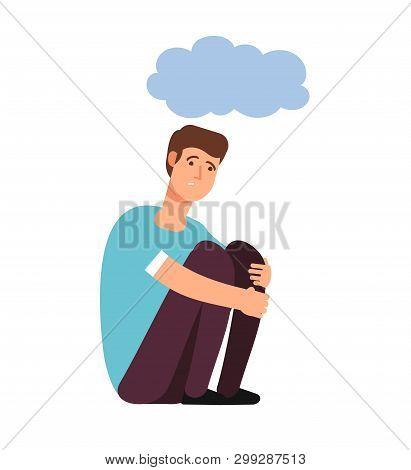 Depressed Man. Depression Concept Homeless Upset Ashamed Afraid Lonely Person Sadness Shame Gloomy G