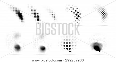 Set Of Halftone Dots Curved Gradient Pattern Texture Isolated On White Background. Curve Dotted Spot