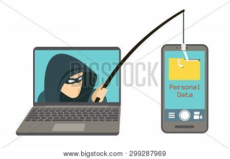 Phishing Scam, Hacker Attack On Smartphone Vector Illustration. Attack Hacker To Data, Phishing And