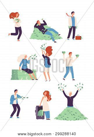 Rich People. Wealthy Happy Persons With Money, Lucky Rich Man And Woman Millionaire Vector Isolated