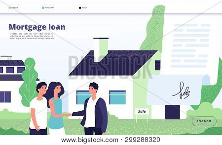 Mortgage Loan. People Borrower Buy Home Property With Bank Credit. Young Couple With Broker, Private
