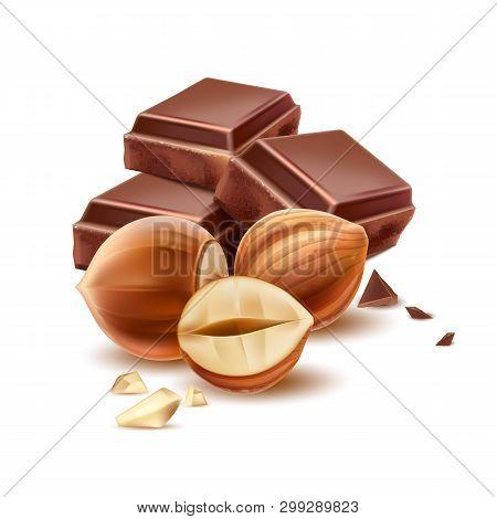 Vector Realistic Chocolate Piece With 3d Hazelnut