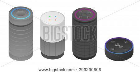 Smart Speaker Icons Set. Isometric Set Of Smart Speaker Vector Icons For Web Design Isolated On Whit