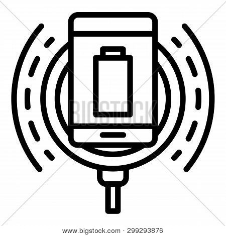 Wireless Charging In Action Icon. Outline Wireless Charging In Action Vector Icon For Web Design Iso