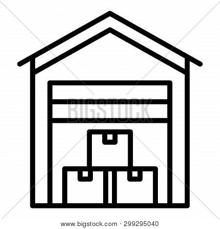 Covered Export Warehouse Icon. Outline Covered Export Warehouse Vector Icon For Web Design Isolated