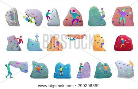 Sport Climbing Icons Set. Cartoon Set Of Sport Climbing Vector Icons For Web Design