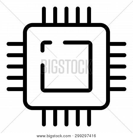 Microprocessor Icon. Outline Microprocessor Vector Icon For Web Design Isolated On White Background