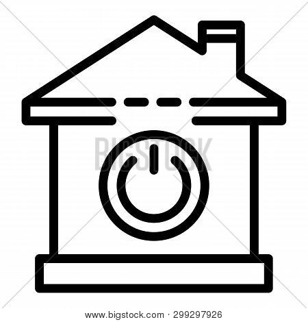 Smart Home Power Button Icon. Outline Smart Home Power Button Vector Icon For Websdesign Isolated On