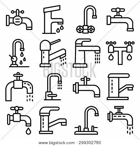 Faucet Icons Set. Outline Set Of Faucet Vector Icons For Web Design Isolated On White Background