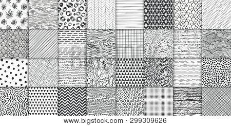 Abstract Hand Drawn Geometric Simple Minimalistic Seamless Patterns Set. Polka Dot, Stripes, Waves,