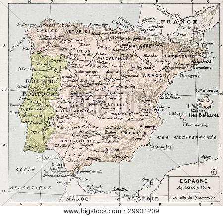 Spain between 1808 and 1814 old map. By Paul Vidal de Lablache, Atlas Classique, Librerie Colin, Paris, 1894 poster